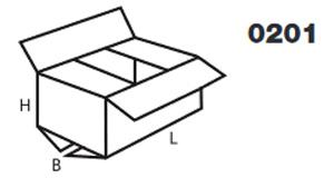 Der FEFCO-Typ für Faltschachteln mit dem Code 0201