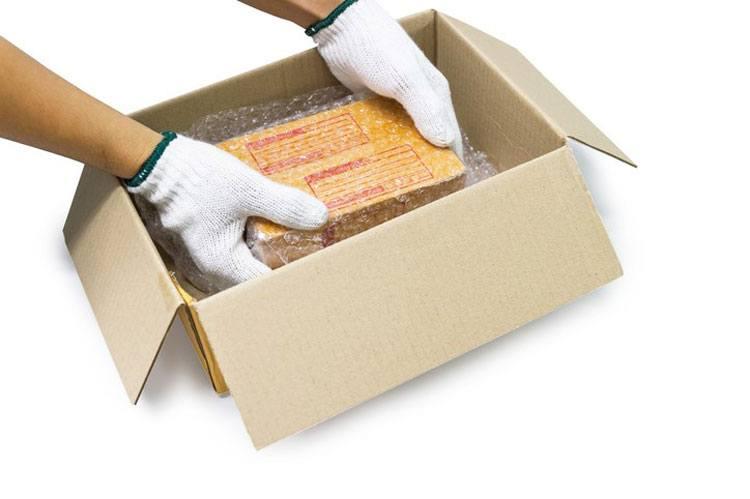 Zerbrechliche Güter werden vorsichtig im Karton platziert