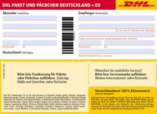 Paket beschriften mit DHL-Versandschein