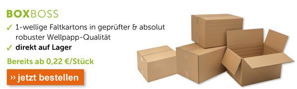 Boxboss Faltkartons bereits ab 0,22 €