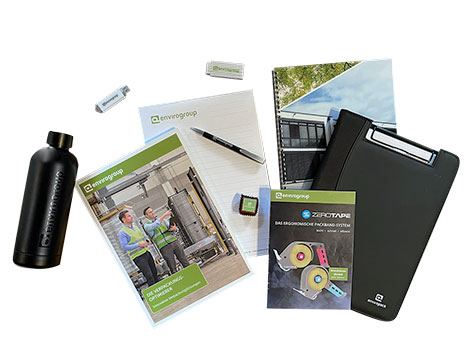 Printprodukte: Katalog, Block, Kugelschreiber, Praline, Zollstock